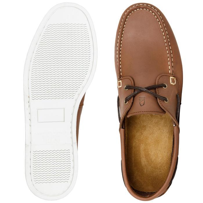 Calzado náutico de cuero hombre CR500 marrón marrón Tribord  da29f21e503