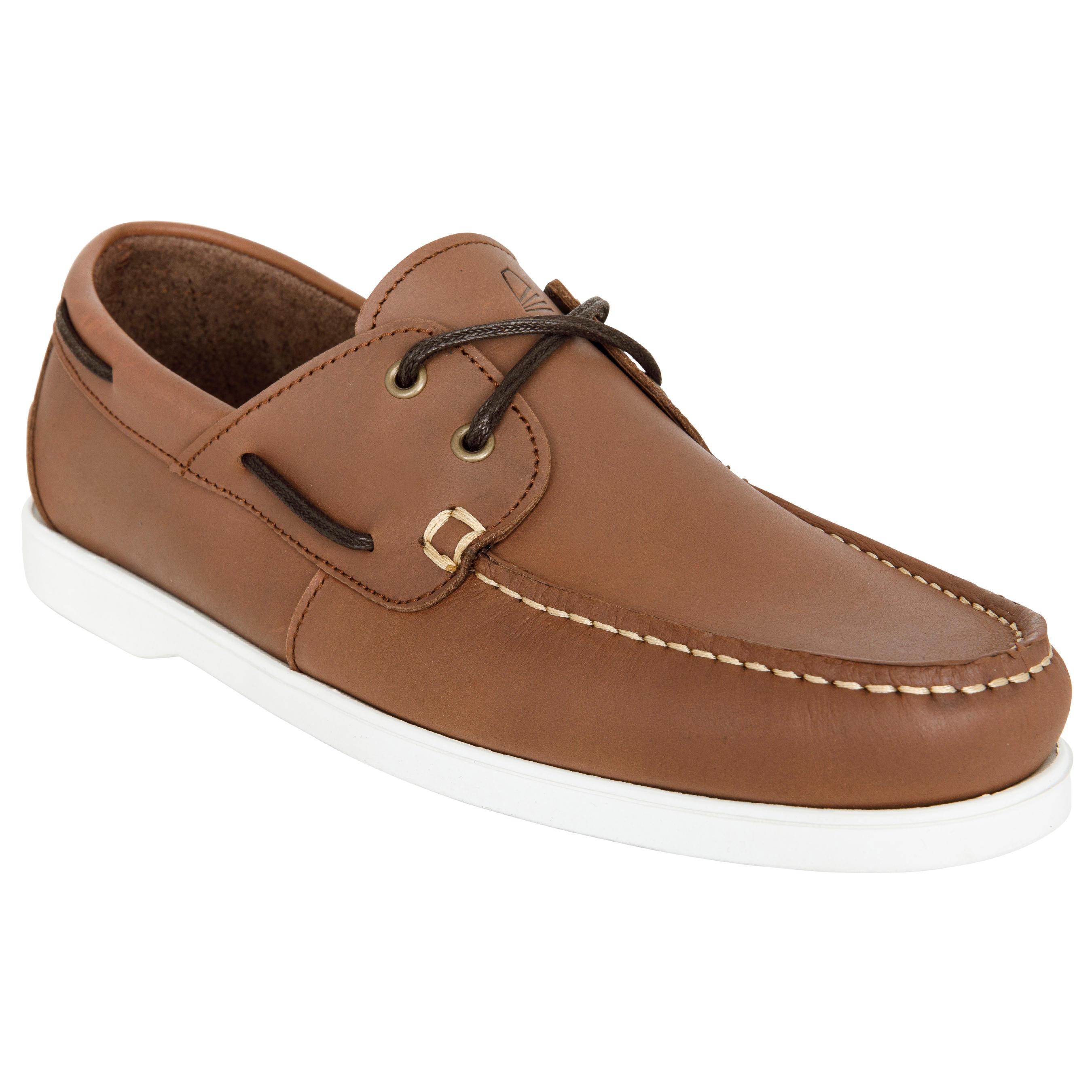 Chaussures bateau cuir homme CR500 brun blanc