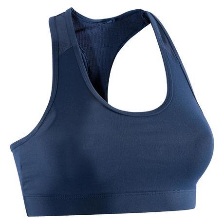 Brassière fitness cardio-training femme bleu marine 100  4de324e74be