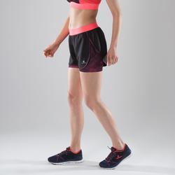Short 2en1 fitness cardio-training mujer negro y rosa 500