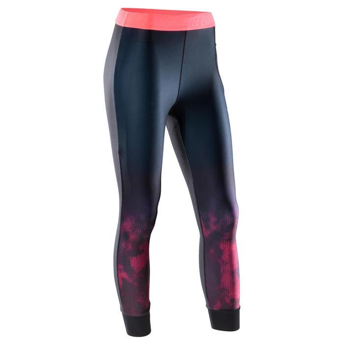 7/8 Leggings Cardio 500 Damen Fitness schwarz mit rosa Print