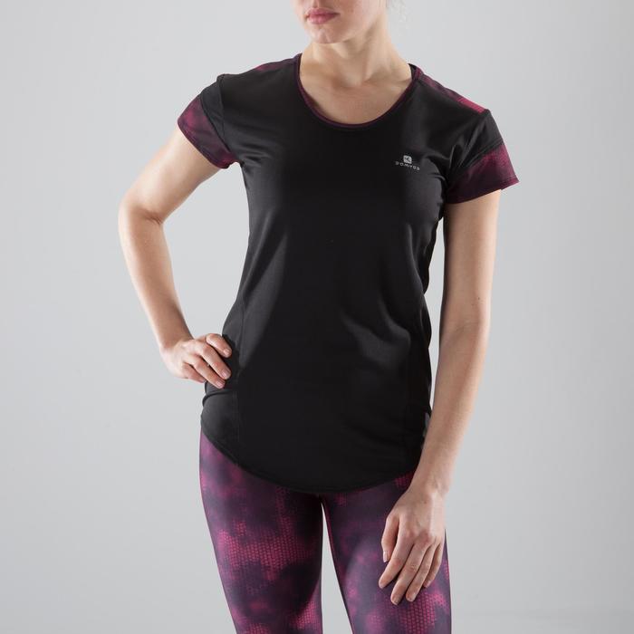 Camiseta de fitness cardio-training mujer negro detalles negros y rosas 500