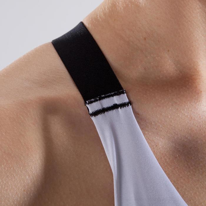 Brassière fitness cardio-training femme blanche imprimée cardio 500