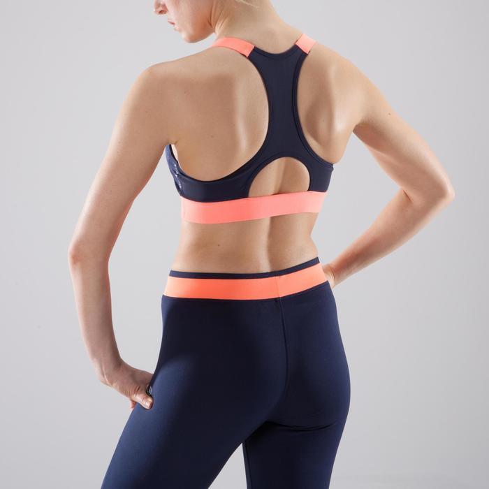Sujetador-top fitness cardio-training mujer estampado azul marino y coral 500