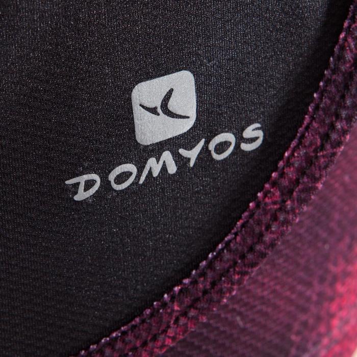 Short 2 en 1 fitness cardio femme bleu marine et imprimés roses 520 Domyos - 1412702