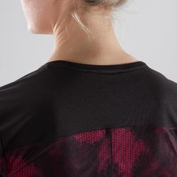 T-Shirt Cardio 500 Damen Fitness schwarz/rosa Print