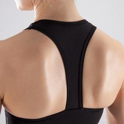 Sport-Bustier 100 Fitness Cardio Damen schwarz