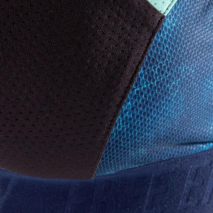 Brassière fitness cardio-training femme noire à imprimés bleu marine 500