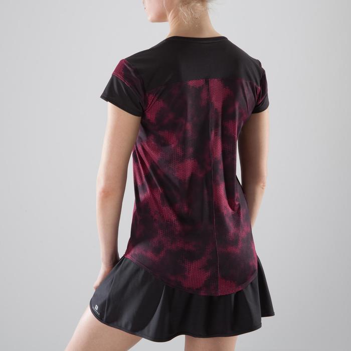 Camiseta fitness cardio-training mujer estampados negros y rosas 500