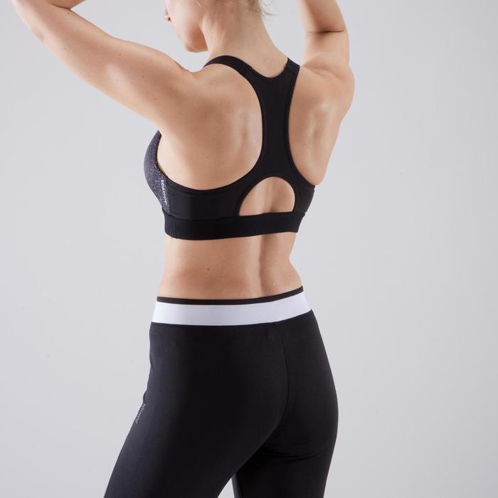 Brassière fitness cardio-training femme imprimée noir et blanc 500