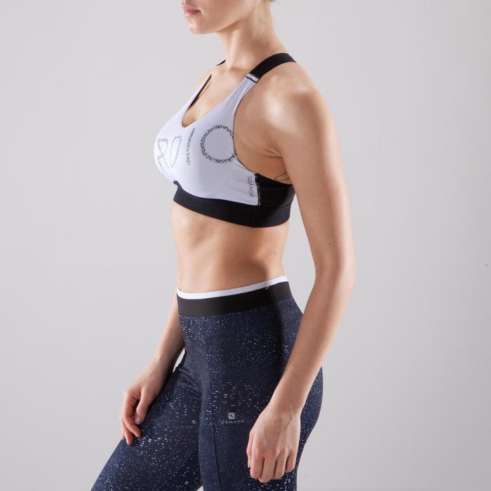Brassière fitness cardio femme imprimés géométriques noirs 500 Domyos - 1412728