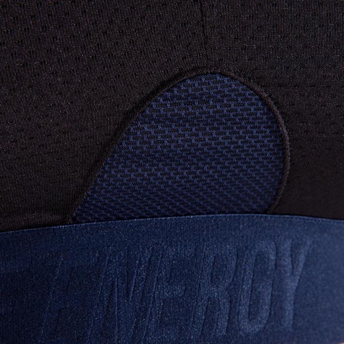 Sujetador-top fitness cardio-training mujer negro con estampados azul marino 500