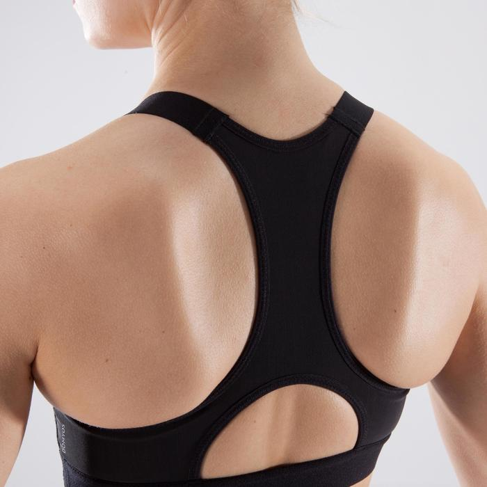 Sport-Bustier 500 Fitness Cardio-Training Damen Print schwarz/weiß