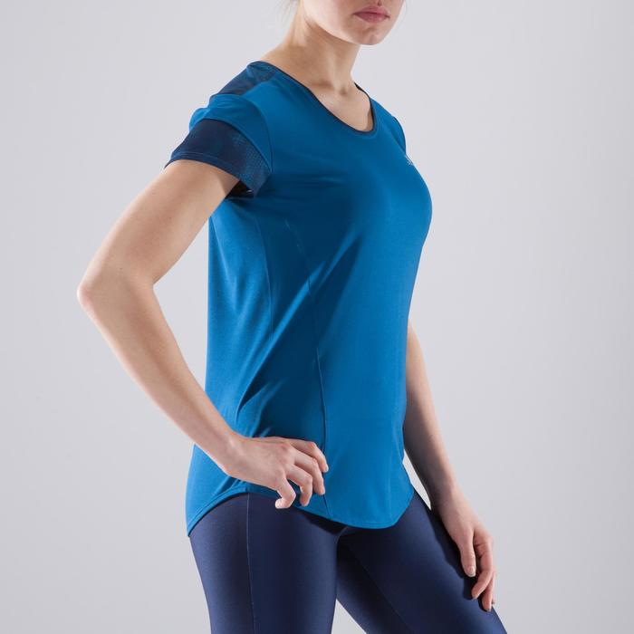 T-Shirt Cardio 500 Damen Fitness mit blauen Prints