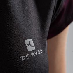 T-Shirt Cardio 500 Damen Fitness schwarz mit schwarz/rosa Details