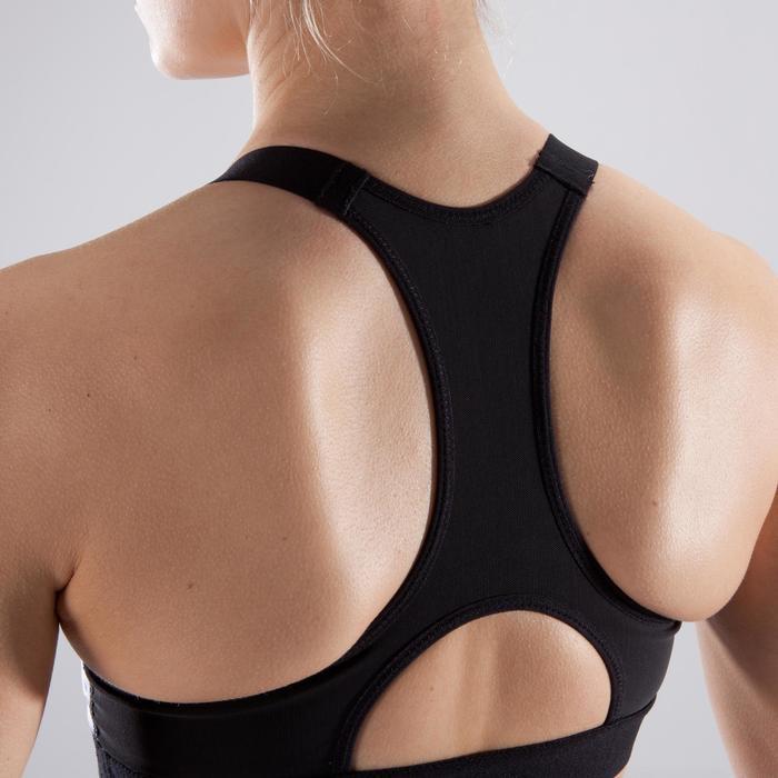 Brassière fitness cardio femme imprimés géométriques noirs 500 Domyos - 1412777