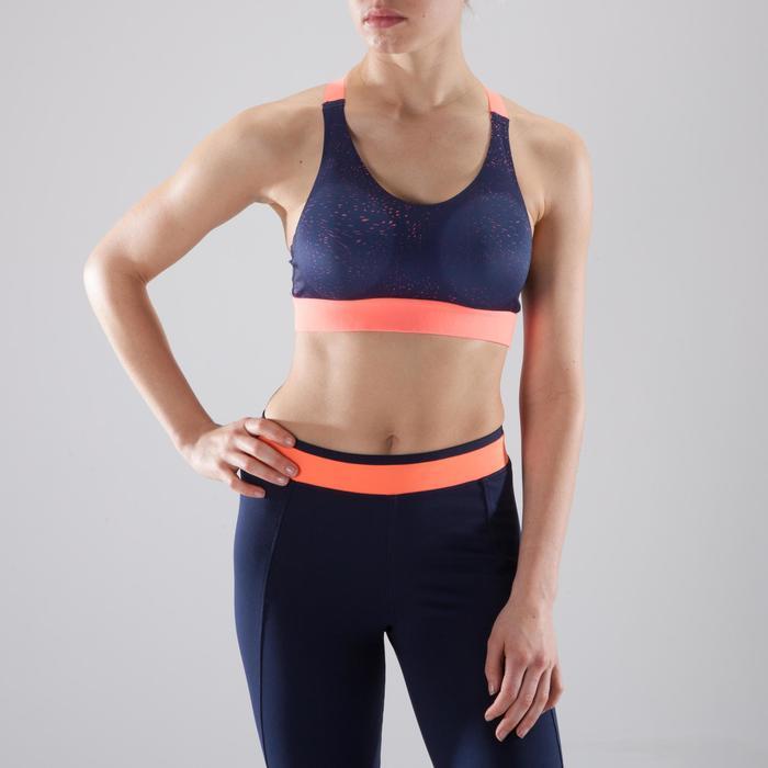 Brassière fitness cardio femme imprimés géométriques noirs 500 Domyos - 1412778