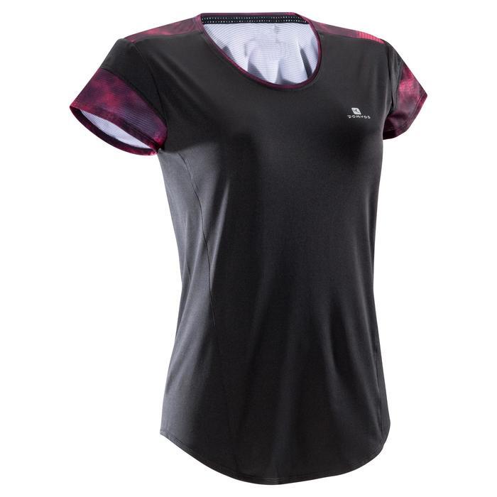 Cardiofitness T-shirt voor dames zwart en zwarte en roze details 500