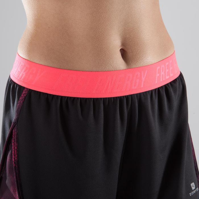 Short 2 en 1 fitness cardio femme bleu marine et imprimés roses 520 Domyos - 1412789