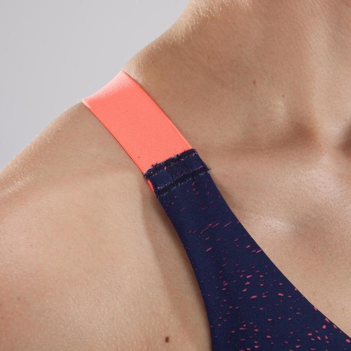 Brassière fitness cardio femme imprimés géométriques noirs 500 Domyos - 1412792