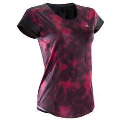 T-shirt fitness cardio-training femme à imprimés noirs et roses 500