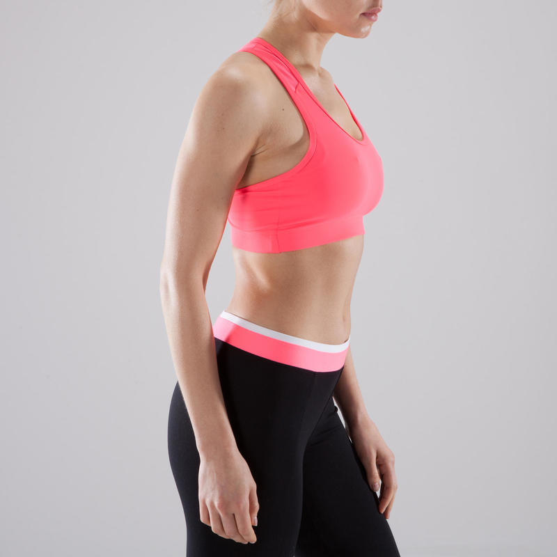 Sujetador-top cardio fitness mujer rosa 100