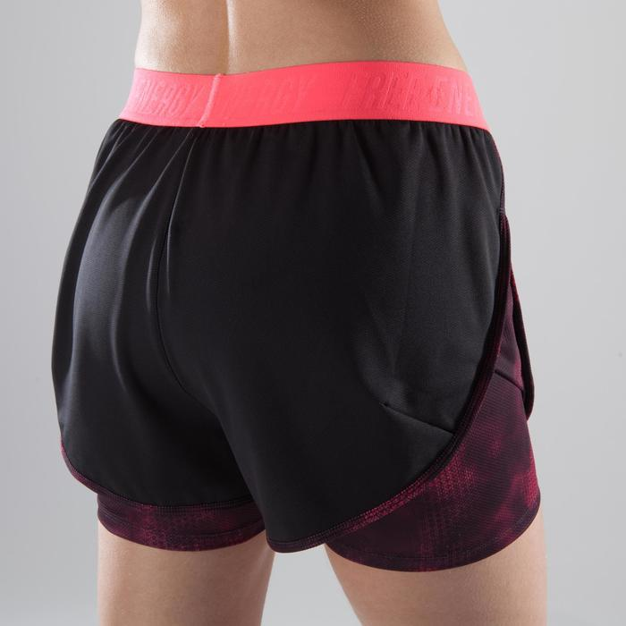 Short 2 en 1 fitness cardio femme bleu marine et imprimés roses 520 Domyos - 1412812