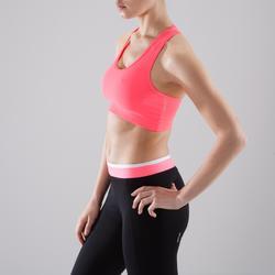 Brassière cardio fitness femme rose 100