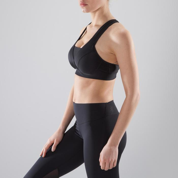 Sport-Bustier 900 Fitness Cardio-Training Damen schwarz