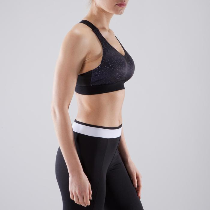 Sport-Bustier 500 Fitness-/Cardiotraining Damen Print schwarz/weiß