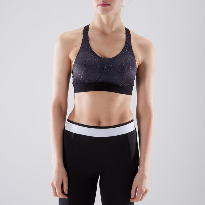 Sujetador-top fitness cardio-training mujer estampado negro y blanco 500