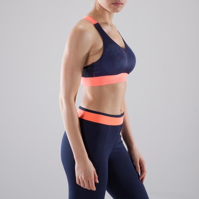 Sport-BH 500 Fitness Cardio-Training Damen marineblau/koralle