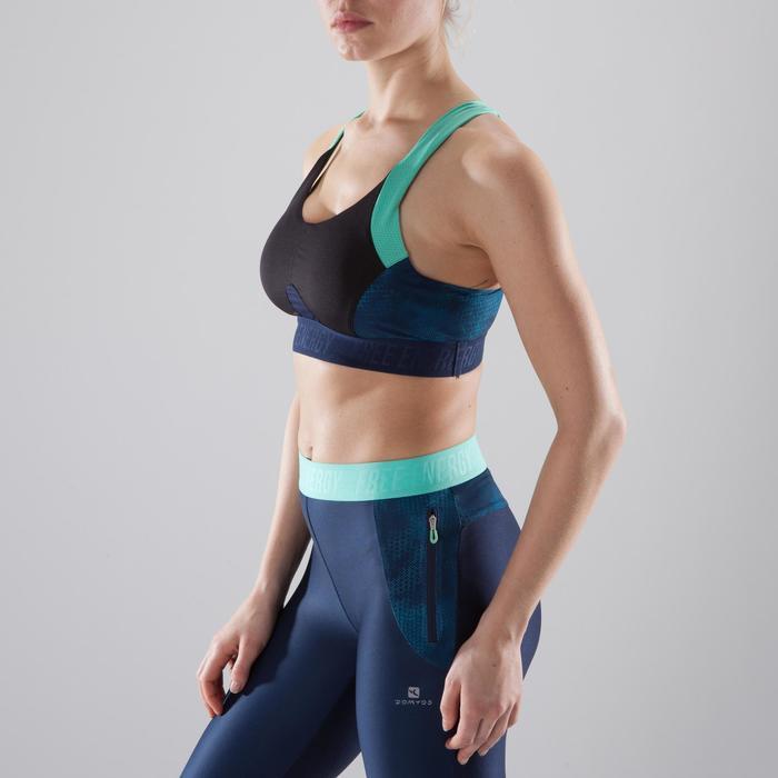 Sport-Bustier 500 Fitness Cardio Damen schwarz Print marineblau