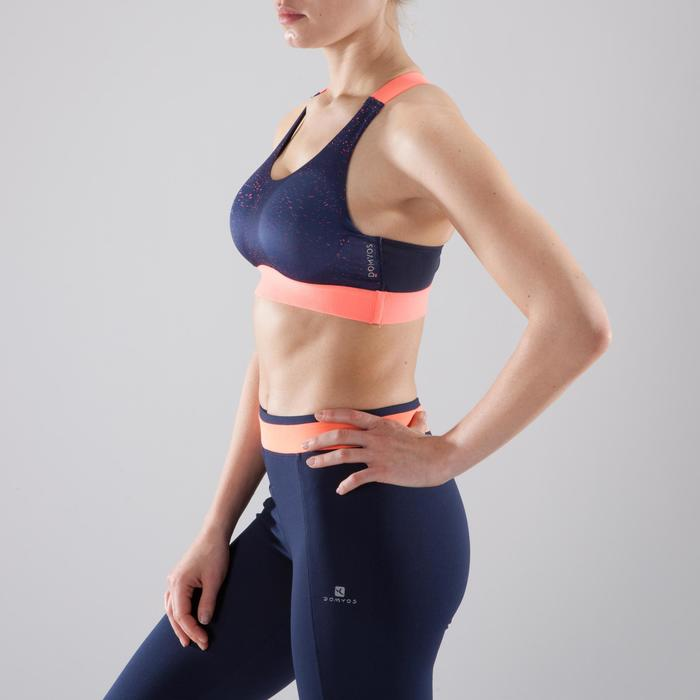 Sport-Bustier 500 Fitness Cardio-Training Damen marineblau/koralle