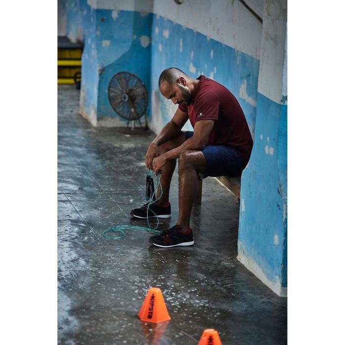 Camiseta de fitness cardio-training para hombre FTS120 burdeos estampado
