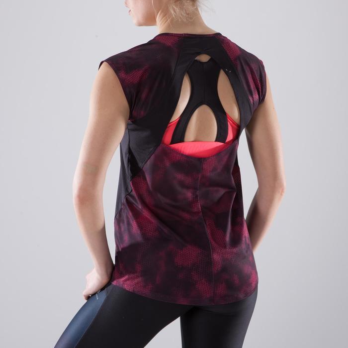 T-shirt fitness cardio femme bleu marine à imprimés roses 500 Domyos - 1412950