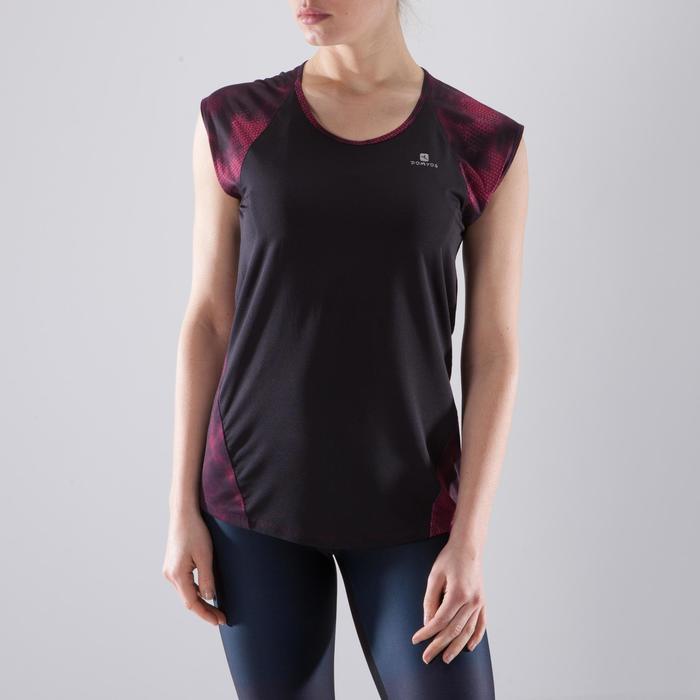 T-shirt fitness cardio femme bleu marine à imprimés roses 500 Domyos - 1412952