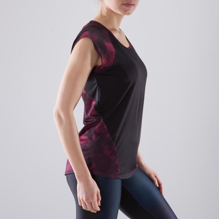 T-shirt fitness cardio femme bleu marine à imprimés roses 500 Domyos - 1412953