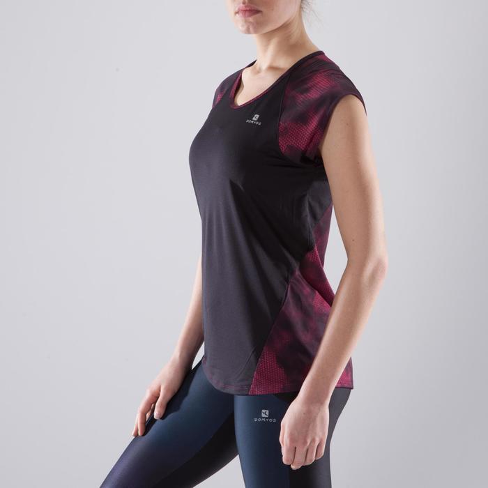 T-shirt fitness cardio femme bleu marine à imprimés roses 500 Domyos - 1412954