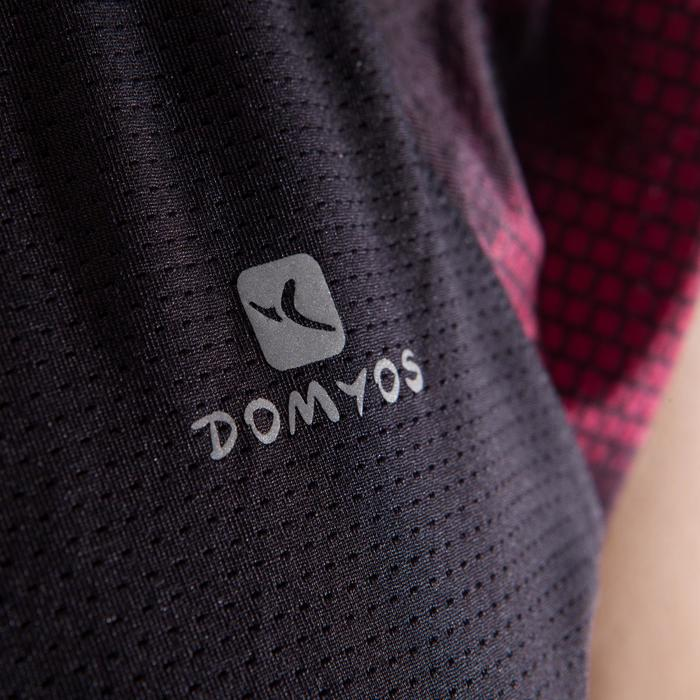 T-shirt fitness cardio femme bleu marine à imprimés roses 500 Domyos - 1412957
