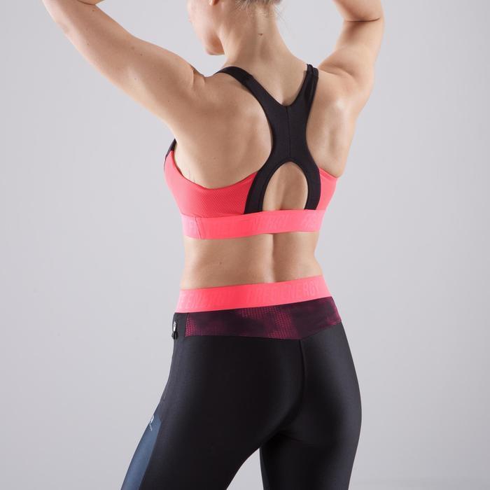 Brassière fitness cardio femme à imprimés tropicaux roses 500 Domyos - 1412959