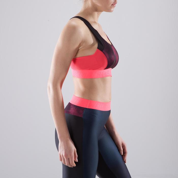 Brassière fitness cardio femme à imprimés tropicaux roses 500 Domyos - 1412960