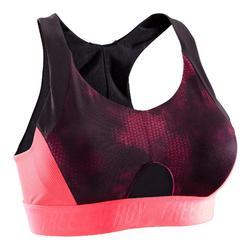 Sportbeha 500 voor cardiofitness tropical print roze Domyos