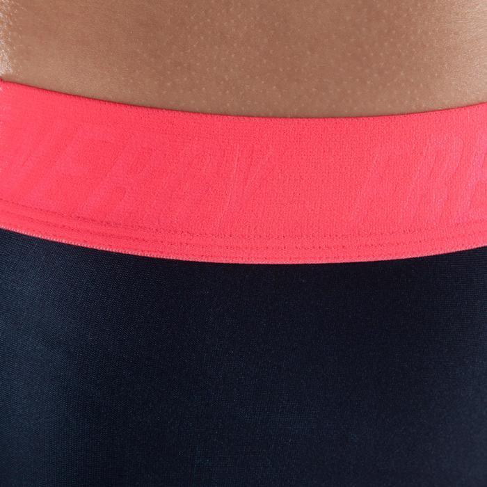 Legging fitness cardio-training femme noir à imprimés roses 500