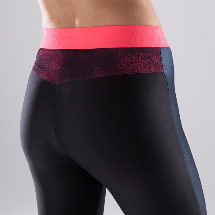 Legging fitness cardio femme bleu marine et imprimés tropicaux roses 500 Domyos - 1412970