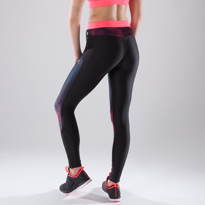 Legging fitness cardio femme bleu marine et imprimés tropicaux roses 500 Domyos - 1412971
