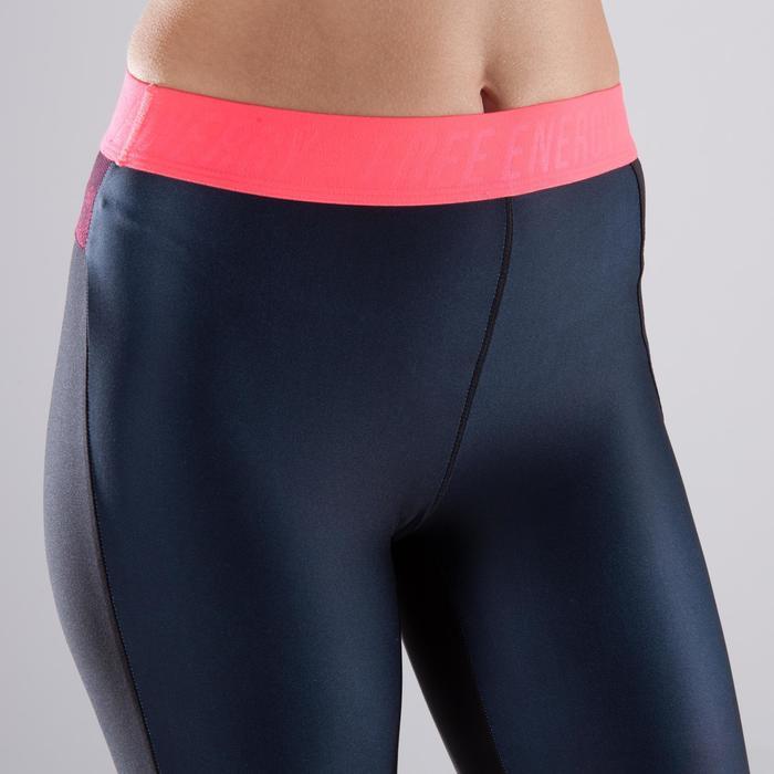Legging fitness cardio femme bleu marine et imprimés tropicaux roses 500 Domyos - 1412974