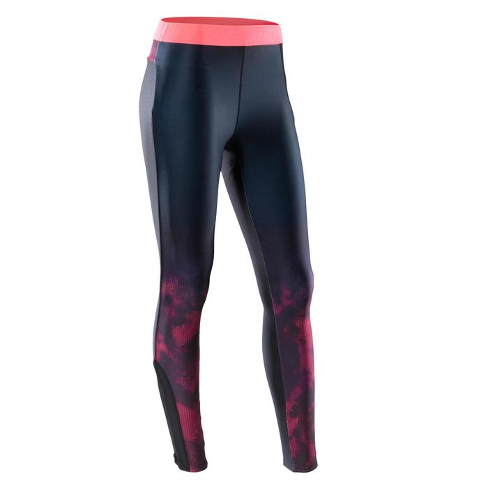 Legging fitness cardio femme bleu marine et imprimés tropicaux roses 500 Domyos - 1412975