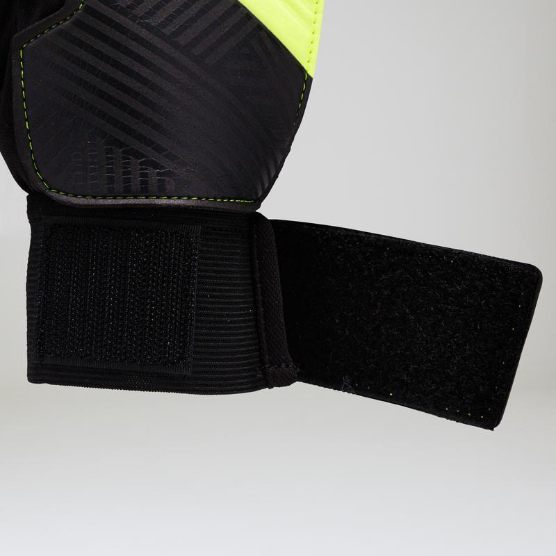Football Goalkeeper Gloves F100 - Black/Yellow
