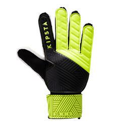 成人款足球守門員手套F100-黑色/黃色